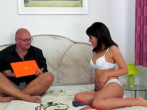 Jizz-shotgun thirsty whore begs her spouse for his hard dick