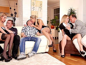 Kinky blonde with a bald vulva liking a hard-core gang-fuck