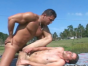Latina homosexual bad boys fuck like crazy outdoor by a lake