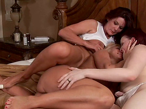 Three hot women roll around in couch and explore girly-girl passions