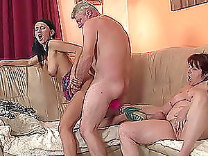 Old man and mature stunner fuck and slurp junior female