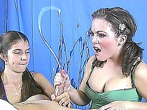Two horny teenagers with ponytails learn to to give a handjob