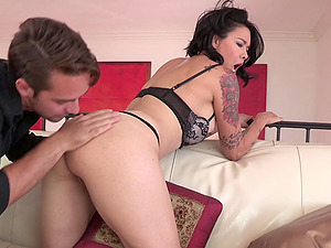 Tattooed sex industry star in sexy undergarments reaches orgasm while getting screwed rear end style