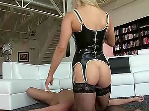 Lengthy haired blonde in sexy undergarments sits on her stud's face and gets her vagina eaten