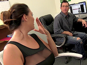Gravely huge-chested woman blows a boy's dick in the office