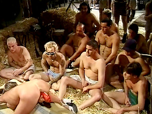 Black-haired sex industry star gets her face covered in jizm at a succulent mass ejaculation soiree