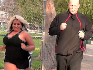 Chesty blonde bbw burns calories on a big hard-on rear end style