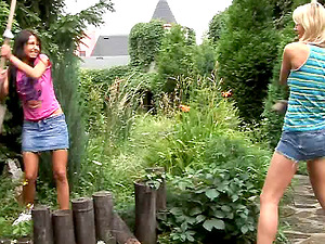 Fabulous outdoors encounter featuring two dirty-minded lezzies having romp