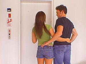 Cracked elevator goes up and down, while she tugs that man rod