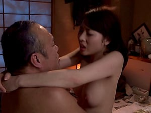Raw Japanese vulva clings to his shaft as she rails erotically