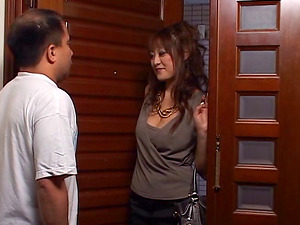 Lonely Japanese housewife tempts a delivery stud & makes him jizz