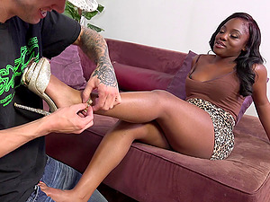 Thick, sexy black doll getting her cram of hard milky dick