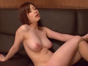 Vivacious Japanese sweetie in spandex underwear rails a stiff pecker cowgirl pose