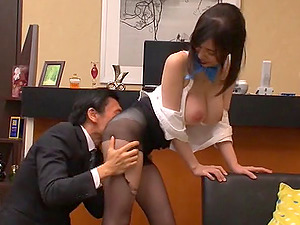 Bosomy and smiley Asian stunner in stockings loves fucking all day lengthy