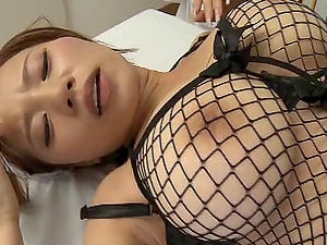 Asian nurse with big tits licks a man's asshole & makes him perceive good