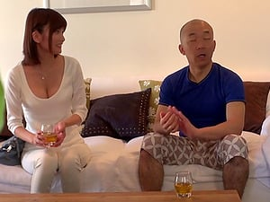 He cannot overlook her cleavage and must fuck the Japanese sweetheart