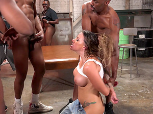 A group of black guys group bang a horny milky tramp