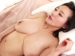 Big tits Japanese cougar loves having her bald snatch fingerblasted then fucked hard-core