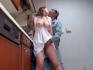 Big tits Japanese housewife has hot fuck-a-thon with the plumber