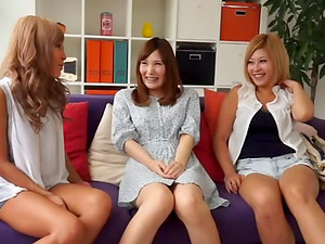 Japanese girl-on-girl threesome needs a man's man sausage in the mix