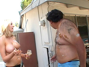 Hideous fat slob pays a pretty woman to have fun with him