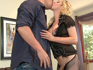 Horny blonde shemale takes a big fat manstick deep in the butt