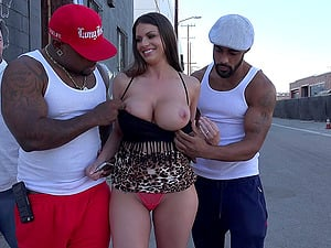 Milky woman with giant tits gets lost in the slum and gets black dicked