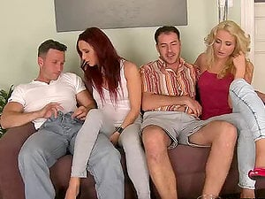 Amazing orgy flick with two couples fucking together