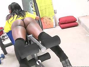 Chubby dark-hued doll Gogo Fukme gets fucked in the gym