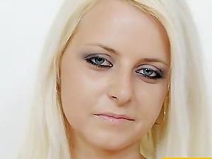 Kinky blonde with a nylon fetish railing a black fake penis