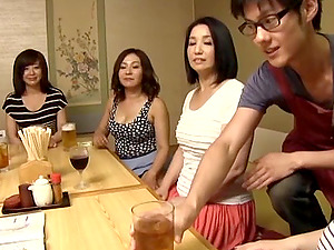 Asian chicks switch sides group sex the waiter at their restaurant