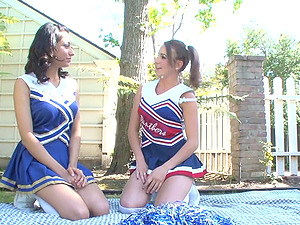 Rival cheerleaders get together and eat some twat