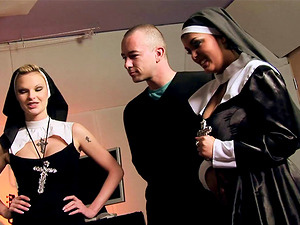A duo of nuns shed their habits and ultimately get some dick