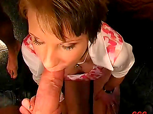 Skinny German bitch with diminutive tits gets banged and covered in jizz