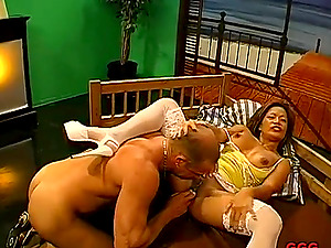 Smutty honey in a bizarre romance with two giant throbbers in point of view
