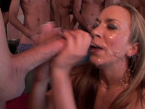 The only lady at the soiree gets fucked by every man in the room