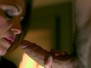 Up close shots of a duo trading some oral favors