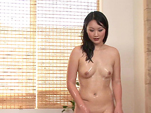 Chubby dude loves this figure rubdown from an Asian bombshell