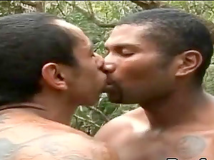 Tattooed fag dudes award each other a fascinating make-out ahead of a xxx fucking outdoors