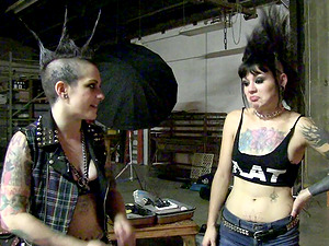 Behind the scene flick of sexy punk and punk fucksluts on a pornography set