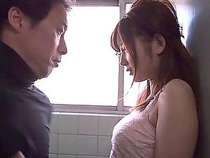 Japanese biz nymph in the bathroom fucked by a horny boy
