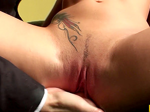 Fantastic black-haired bitch gets taunted and receives a facial cumshot