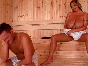 Fantastic chubby bitch with enormous tits gets fucked in the sauna