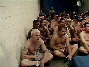 Dozens of studs mass ejaculation the face of a beautiful blonde female