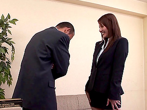 Freshly hired Japanese chick introduced to her chief's man sausage