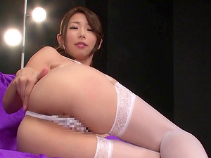 Undergarments wearing Japanese bitch gets spunk on her cootchie