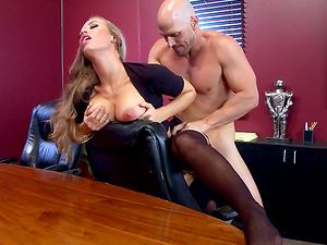 Wild office fucking with a big boobed blonde stunner