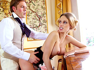 Rich chicks getting fucked hard all over a mansion