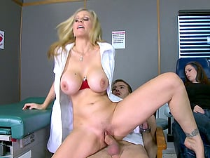 Promiscuous nurse convinces him to cheat with her hairless snatch