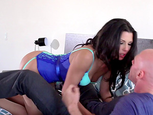 Sexy maid in a taut corset and stockings fucks a hunk